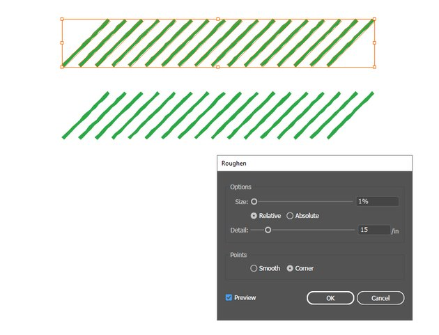 how to distort stripes with Roughen effect in Illustrator