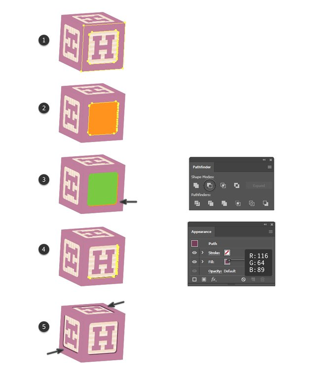 how to create a shadow edge on the building blocks in Illustrator