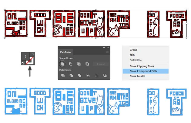 How to create a clipping mask shape for Japanese Hanko stamp text effect