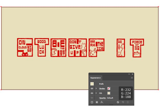 How to create a background behind Japanese Hanko stamp text effect