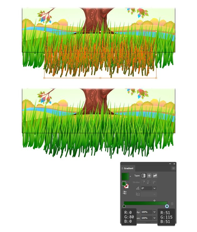 how to make shadow grass in illustrator