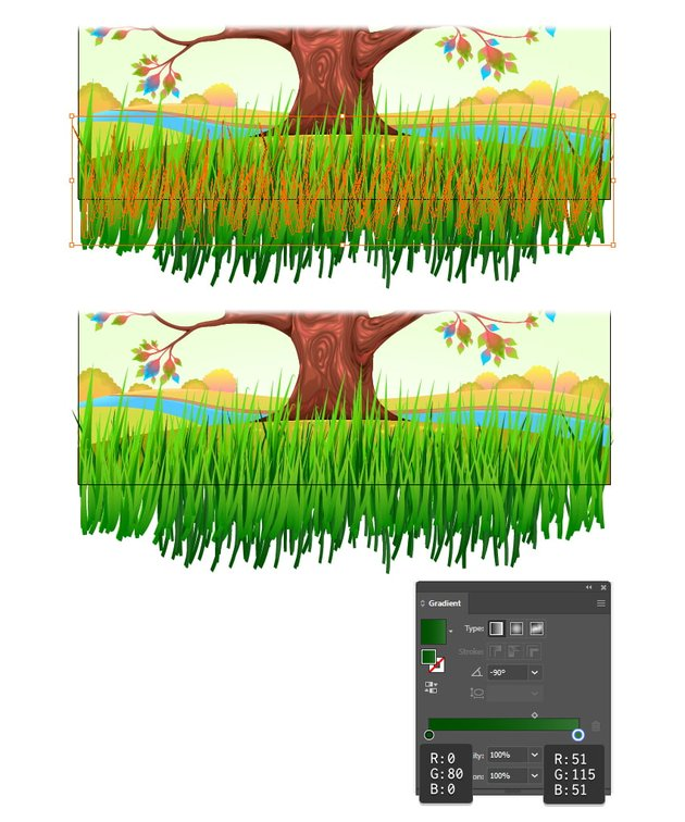 how to add more grass with illustrator brushes