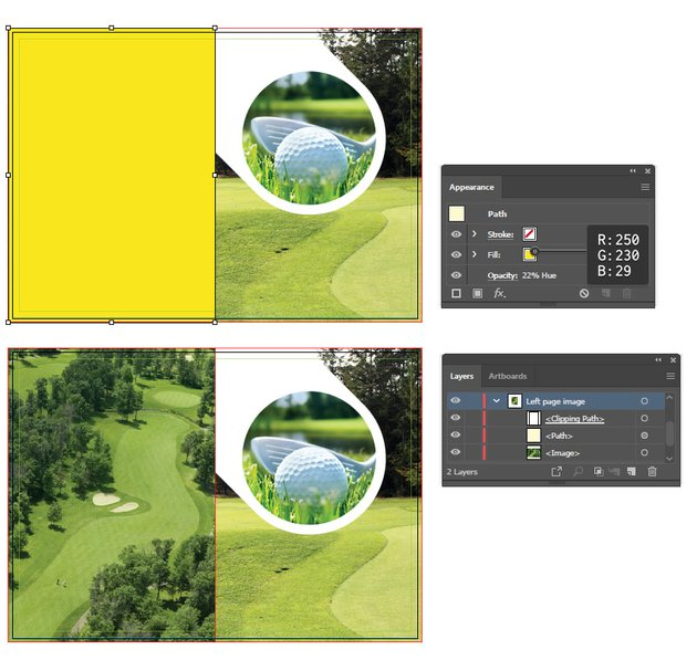 how to adjust the background image on left fold of illustrator brochure