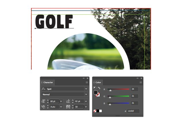 how to type golf text on front right brochure template in illustrator