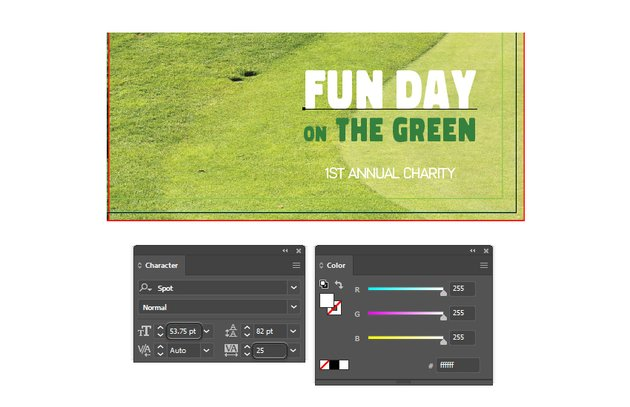 how to type fun day on the right front brochure template in illustrator