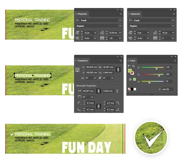 how to add the activity info on the right front brochure template in illustrator