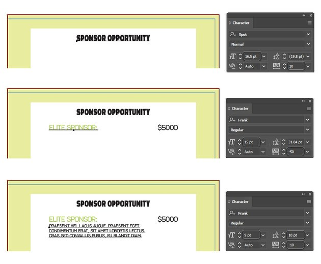 how to type sponsor info on right inside layout of brochure in illustrator