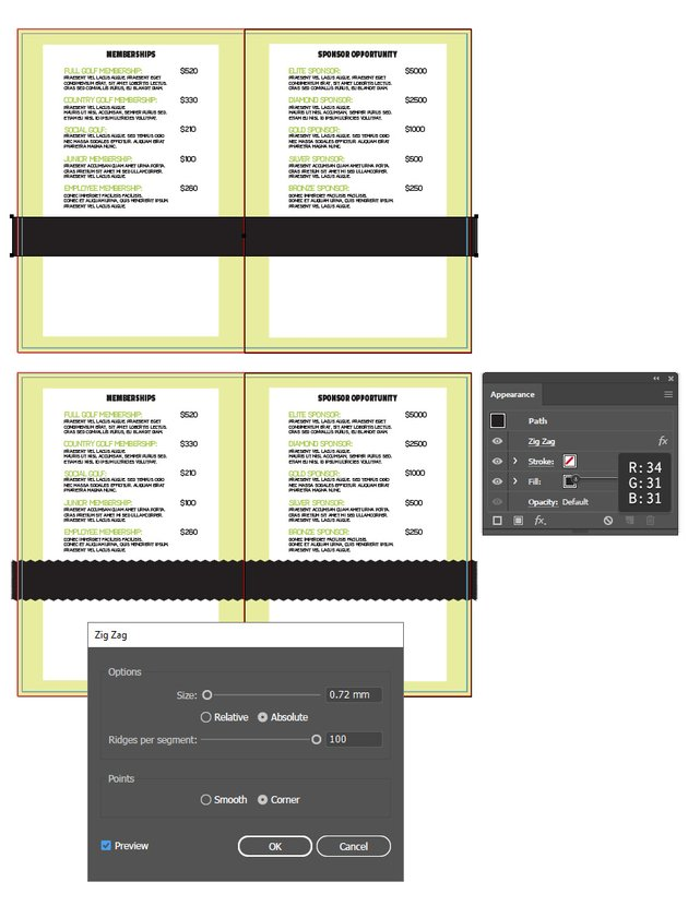 how to create a design stripe on inside layout of bifold brochure in illustrator
