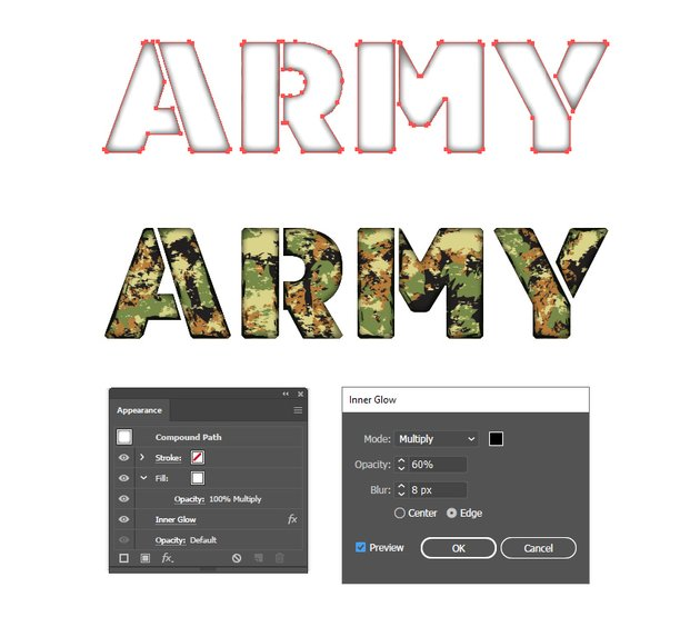 how to create inner shadow for army stencil font in Illustrator