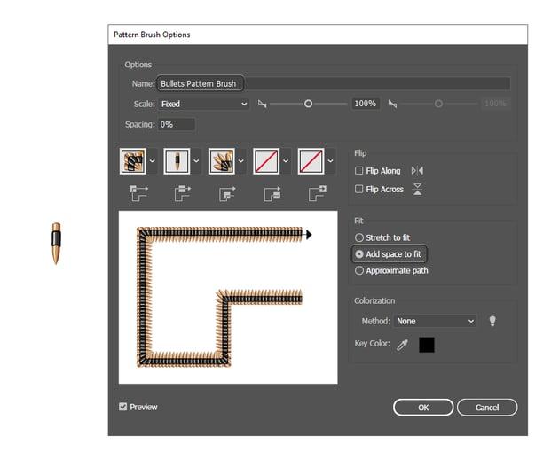 how to save a bullet belt pattern brush in Adobe Illustrator