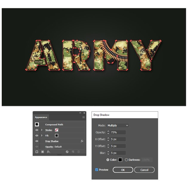 how to create shadow behind army stencil font