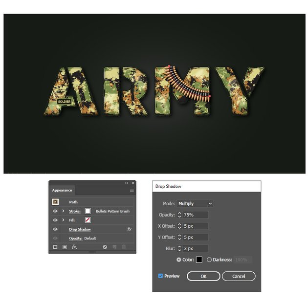 how to create the shadow under bullet army belt in Illustrator