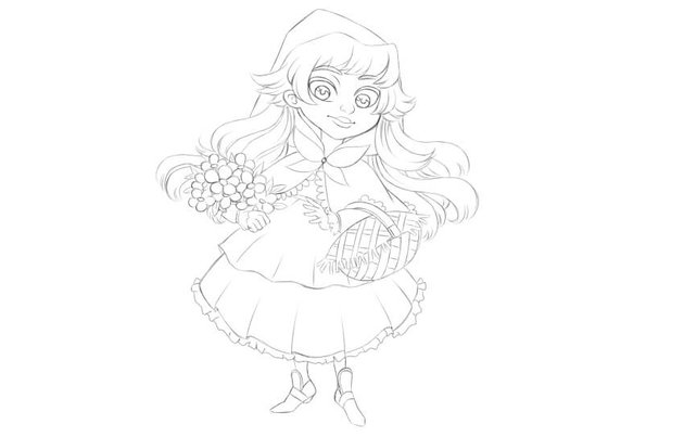 Finished line art of the Little Red Riding Hood