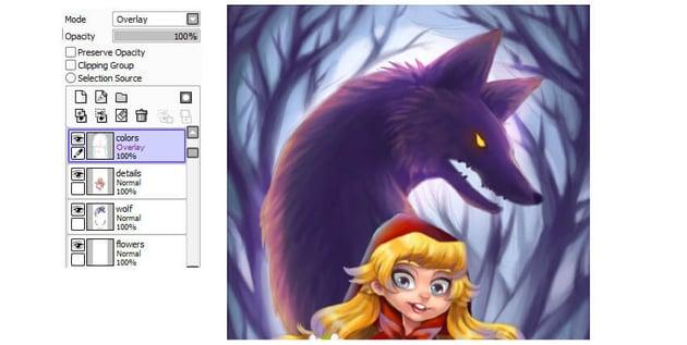 Applying soft overlay on the wolf