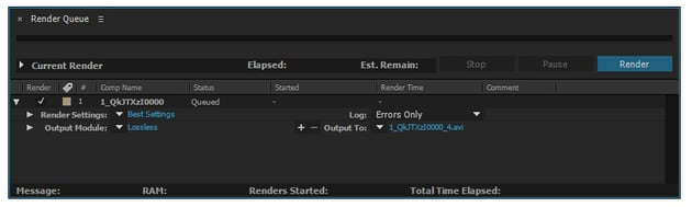 Select your composition in the Project panel and Add to Render Queue Control-M