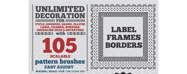 105 Borders Cycle Patterns Brushes for Illustrator