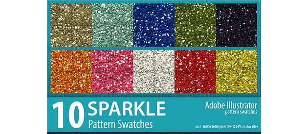 10 Sparkle Glitter Pattern Swatches Vector