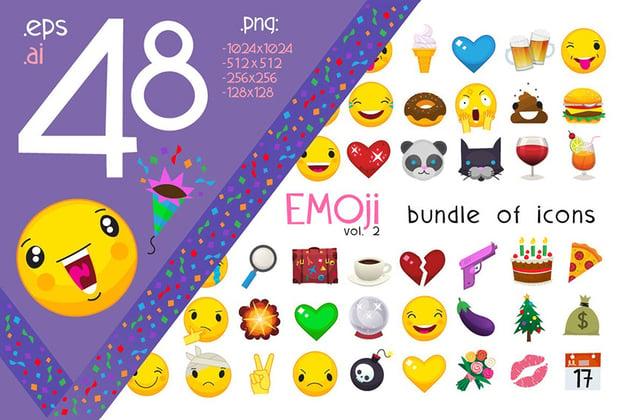 48 Emoji Bundle of Icons for Custom Twitch Emotes
