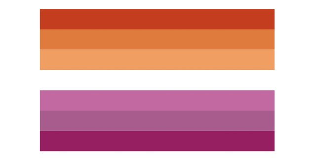 The lesbian pride flag with gender non-conforming orange stripes and pink stripes.