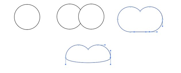 Make a heart from simple shapes.