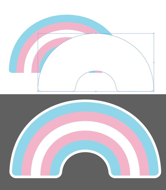 Create your sticker outline for the transgender rainbow pride emote.
