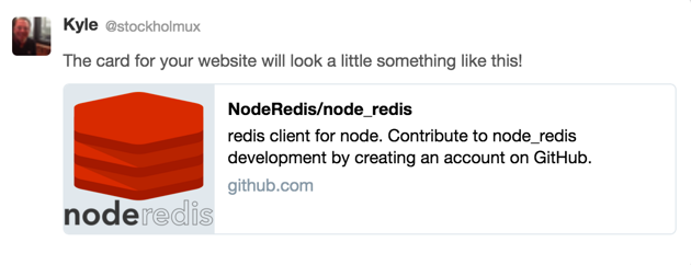 Screenshot of Twitter Card generated by a GitHub page