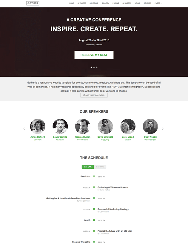 Gather - Conference WP Landing Page Theme