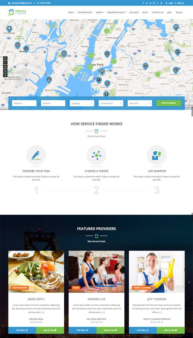 Service Finder WP Business Directory Listing Theme