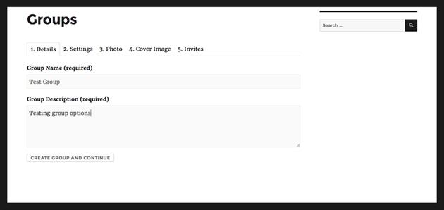 Setting up BuddyPress group setting