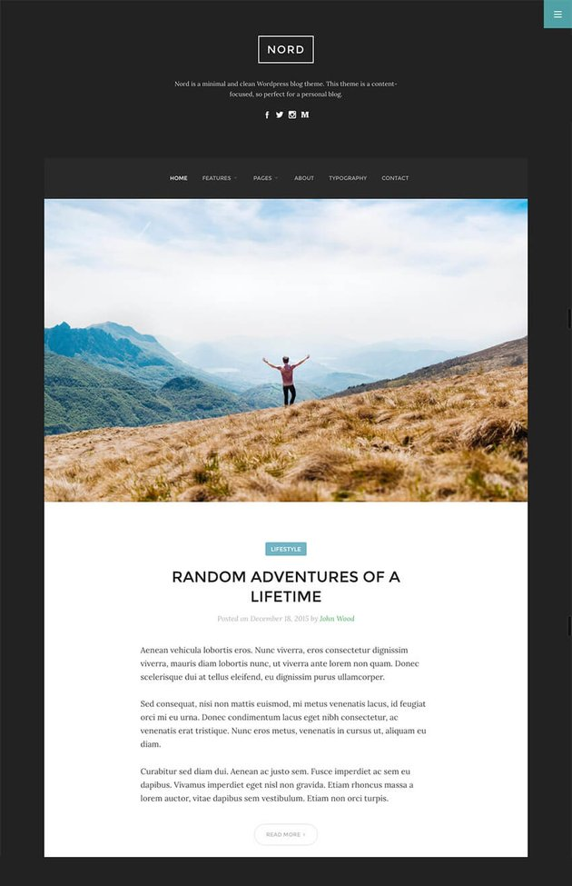 Nord Simple WordPress Writers Blog Theme With Great Readability