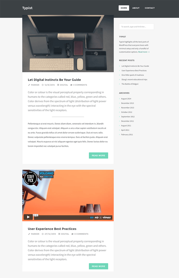 Typist WordPress Theme for Professional Writers and Authors