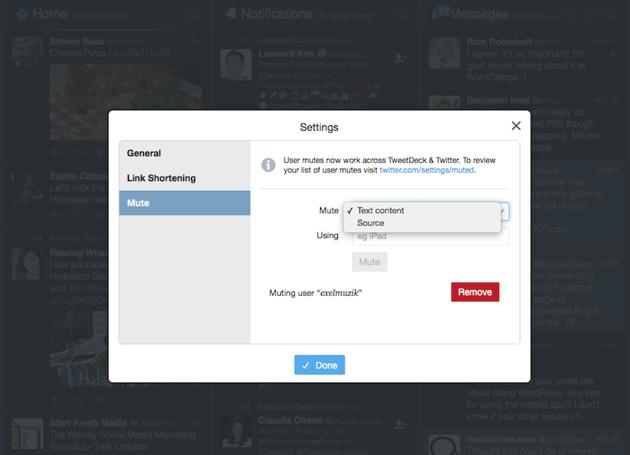 muting options in TweetDeck