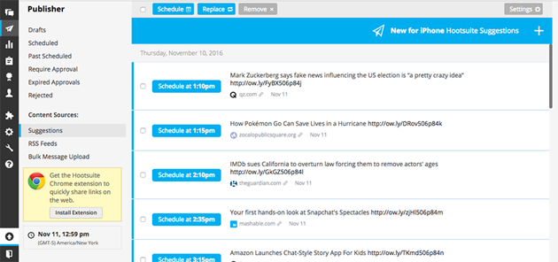 content suggestions in Hootsuite