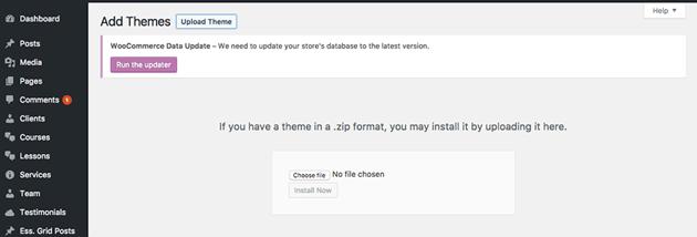 WordPress theme upload