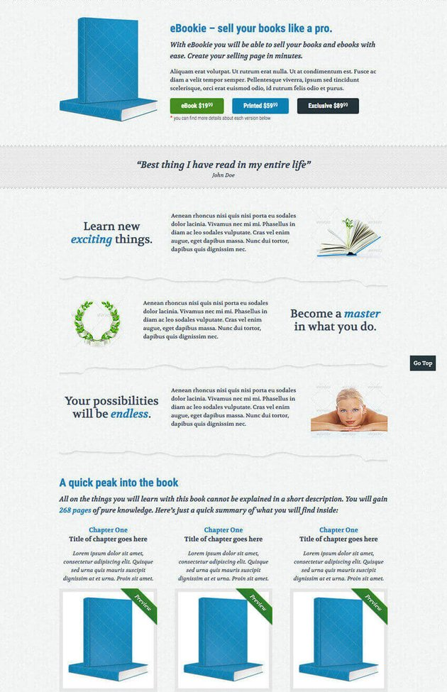 eBookie WordPress Landing Page Theme For Book Authors