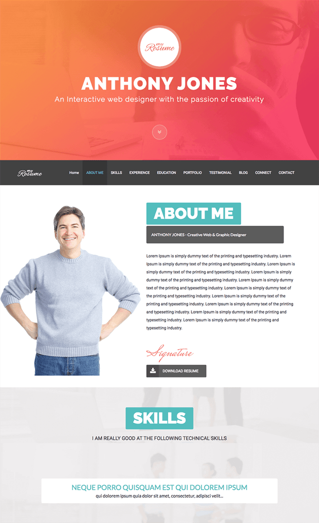 demo content from ResumeX WordPress website theme