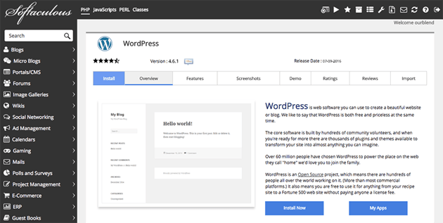 Softaculous wordpress installer