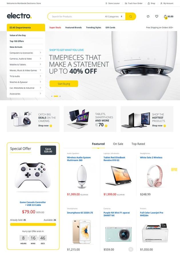 Electro Vibrant and Customizable WordPress Marketplace Theme
