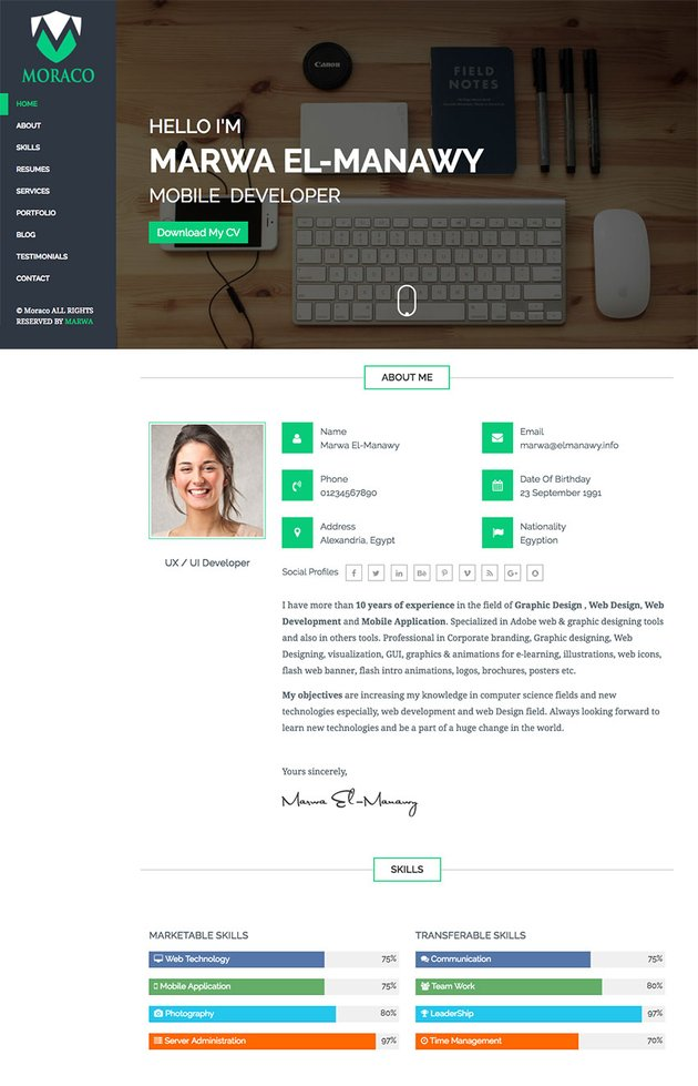 Moraco Clean Personal HTML Resume Website Template