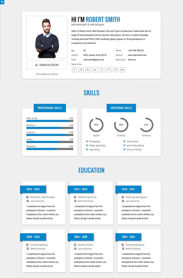 RStill Minimal HTML Resume Website Template