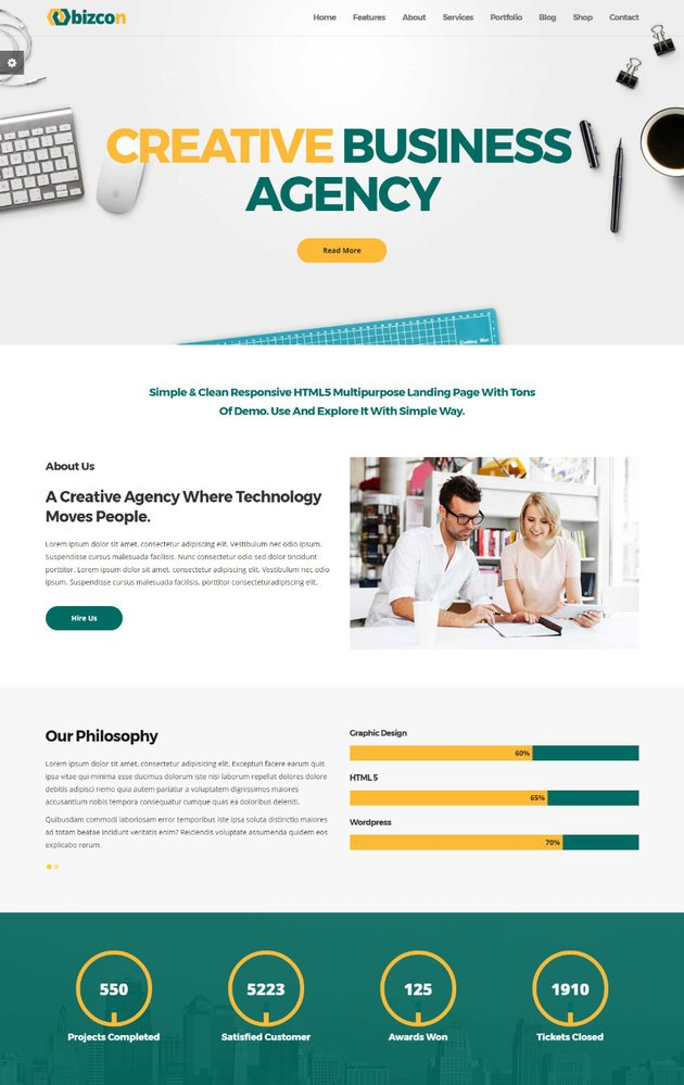 Bizcon Simple Multipurpose HTML Site Template