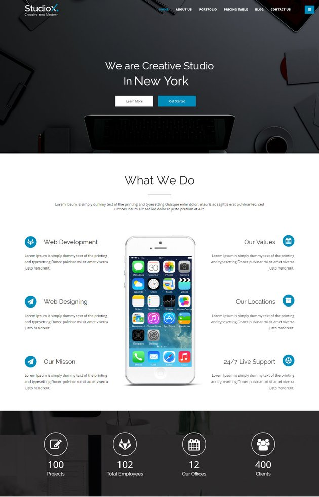 StudioX - Creative One Page HTML Parallax Template