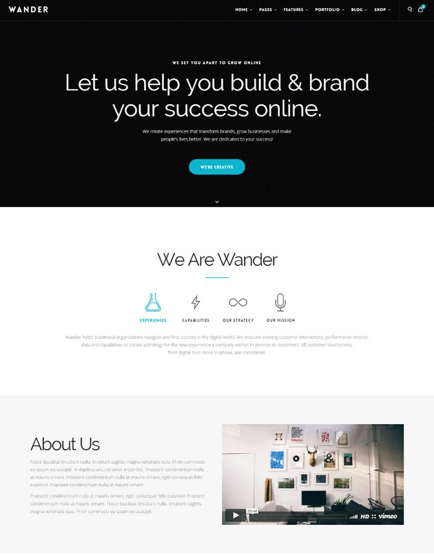 Wander Stunning One Page Multipurpose Site Template
