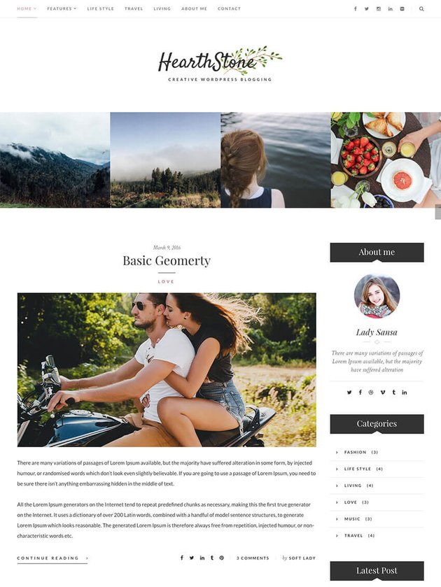 Hearthstone Personal WordPress theme for bloggers