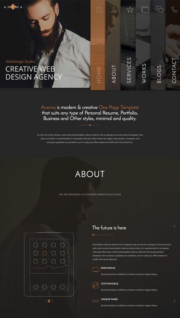 Anema dark minimal parallax one page WP theme