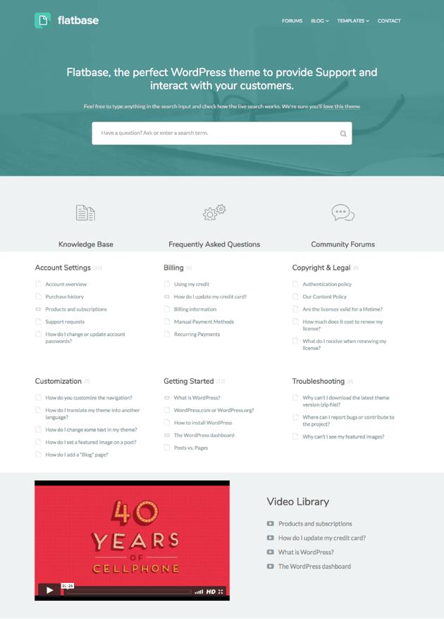 Flatbase Simple Knowledge-base wiki WordPress theme