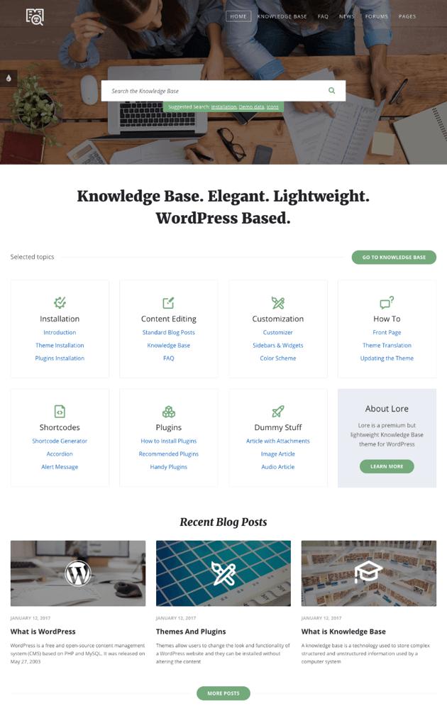 Lore simple WordPress Wiki-style theme