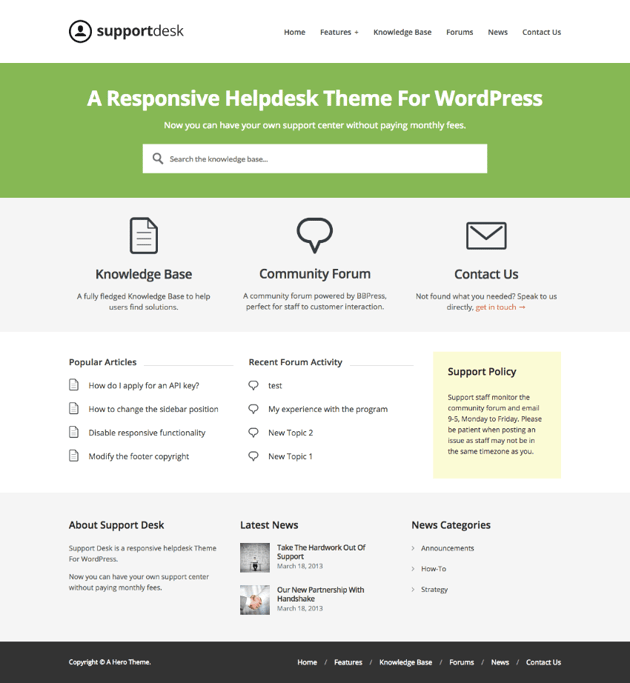 SupportDesk Helpdesk WordPress Wiki theme