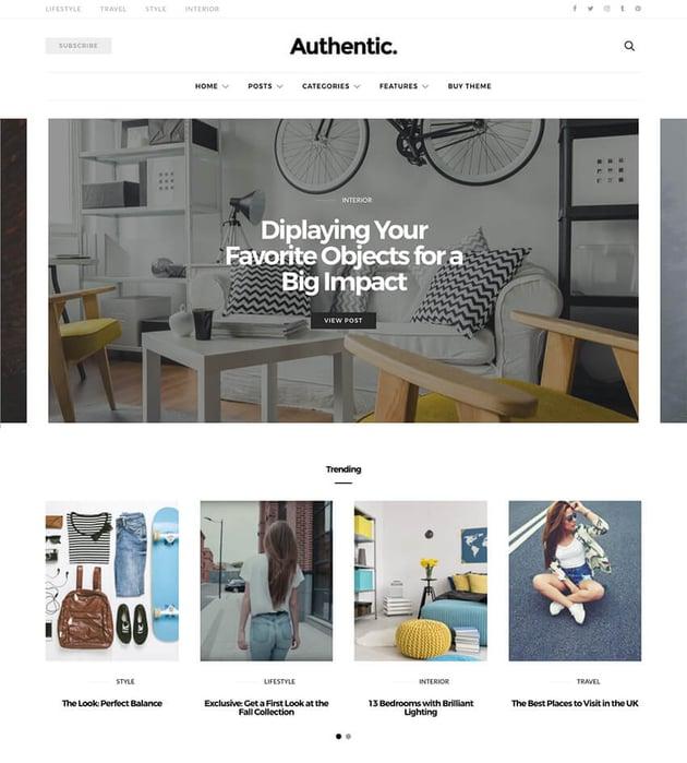 Authentic minimal lifestyle WordPress blog theme