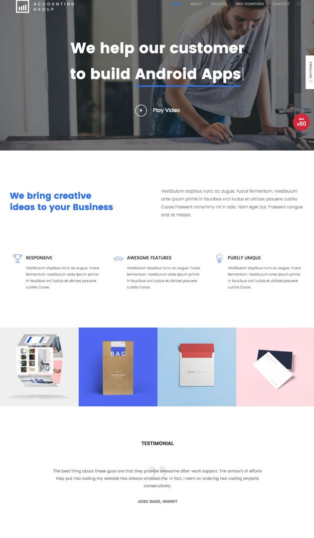 Composer clean WordPress theme with versatile design